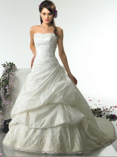 Stile immagine reale taffettà bianco abiti da sposa in da su